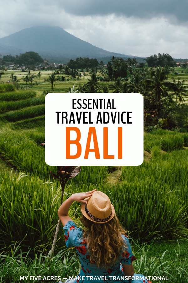 pinterest image for essential travel advice bali