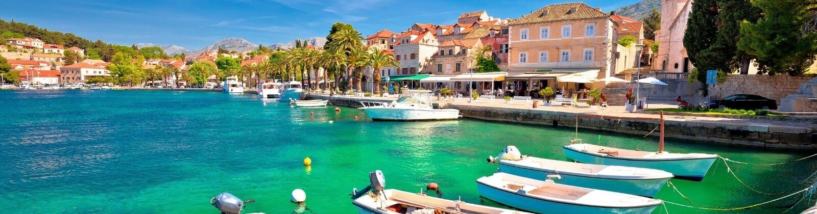 waterfront in croatia with sea and boats