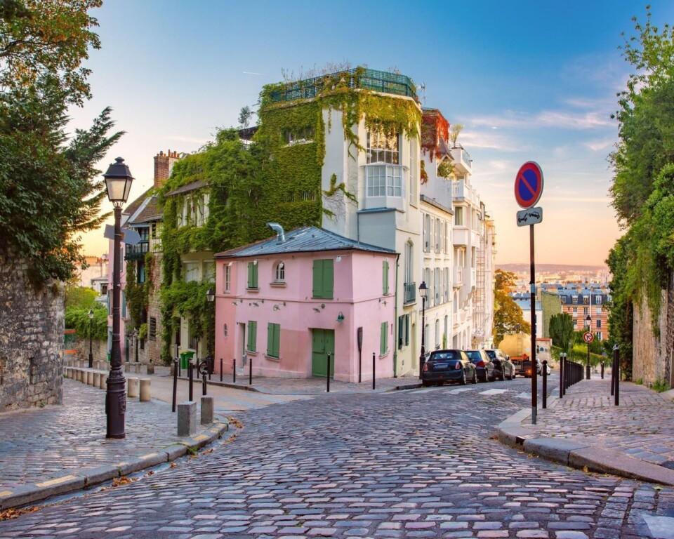 cobblestone street in the hills of paris