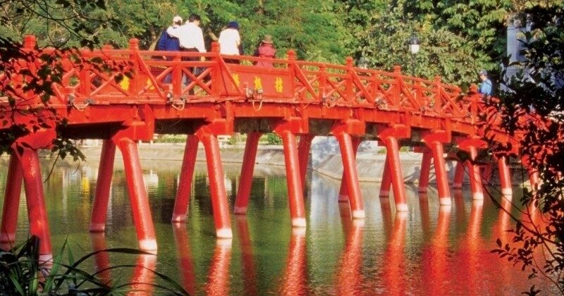 red bridge in hanoi vietnam