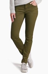 kuhl olive green skinny travel pants for women